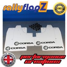 CORSA C (2000-2007) WHITE MUDFLAPS KIT (Logo Black)